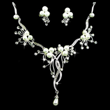 Bridal Wedding Shining Rhinestone & Imitation Pearl Beads Necklace Earring Jewelry Set Party