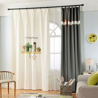 Single Panels Nordic Style 3d Curtains For Living Room Window Decoration Cactus Pattern Printed Curtains Kids Bedroom