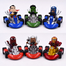 цена на 6Styles Spider Man Iron Man Captain America Hulk Thor Superman Car Action Figure Cartoon Anime PVC Models Toy Gift For Friend