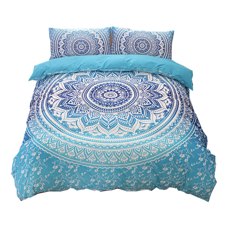 Us 58 0 Bohemian Bedding Sets Mandala Printing Blue Black White Boho Single Double Queen King Size Duvet Cover Set No Filling Sheet In