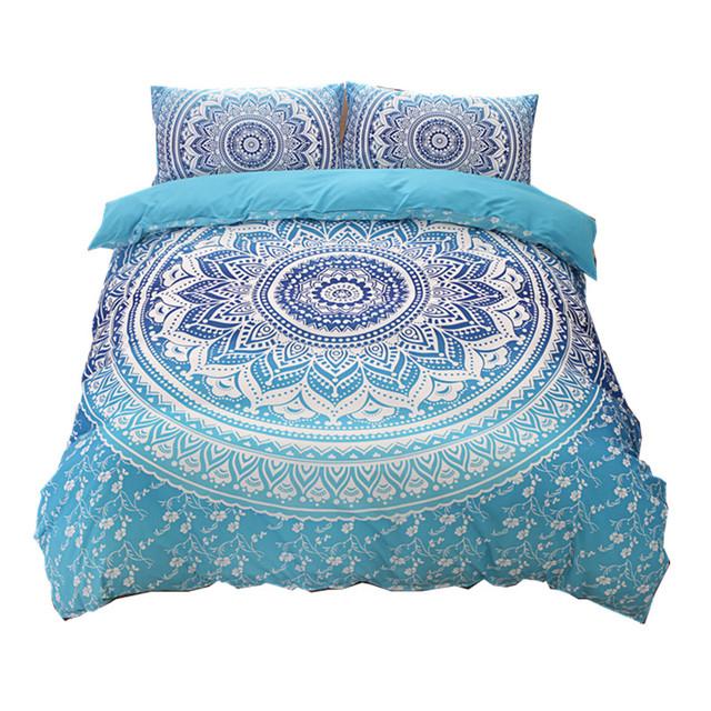 Bohemian bedding sets Mandala Printing Blue Black White boho Single Double Queen King Size Duvet Cover set (no filling,no sheet)