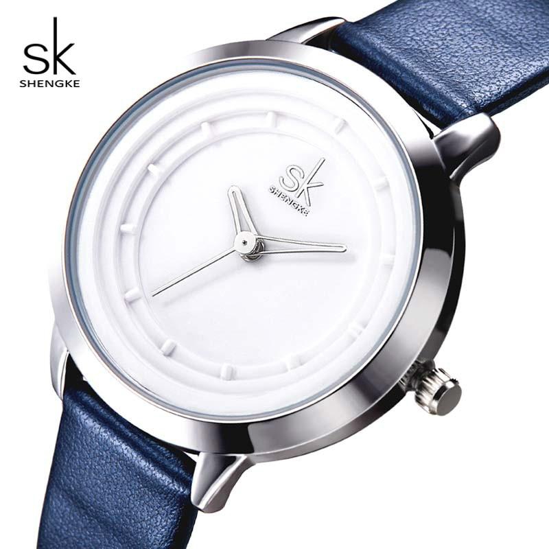 где купить Shengke Watches Women Brand Blue Fashion Leather Watches Ladies Quartz Watch Relogio Feminino 2018 SK Female Wristwatch #K0048 по лучшей цене