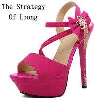 14 CM Heels Fashion Sexy Rhinestons Fringe Women Sandals Thin High Heels Crystal Tassel Lady Platform