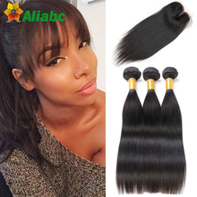 2016 Hot 8a Malaysian Straight Hair With Closure 3 Bundles Jet Black Straight Human Hair With Closure Stema Hair Company