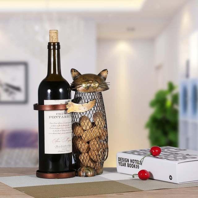 Tooarts Kot Stojak Na Wino Korek Pojemnik Wino W Butelce Uchwyt Kuchnia Bar Metalowe Wina Craft Prezent Na Boże Narodzenie Rzemieślnicze Zwierząt