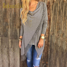 Bohoartist Women Knitwear Cape Tassel Cover Up Cardigan Bohemian Long Sleeve Clothing Autumn 2019 Stylish Knitted Capes Poncho stylish scoop neck long sleeve lace up knitwear for women