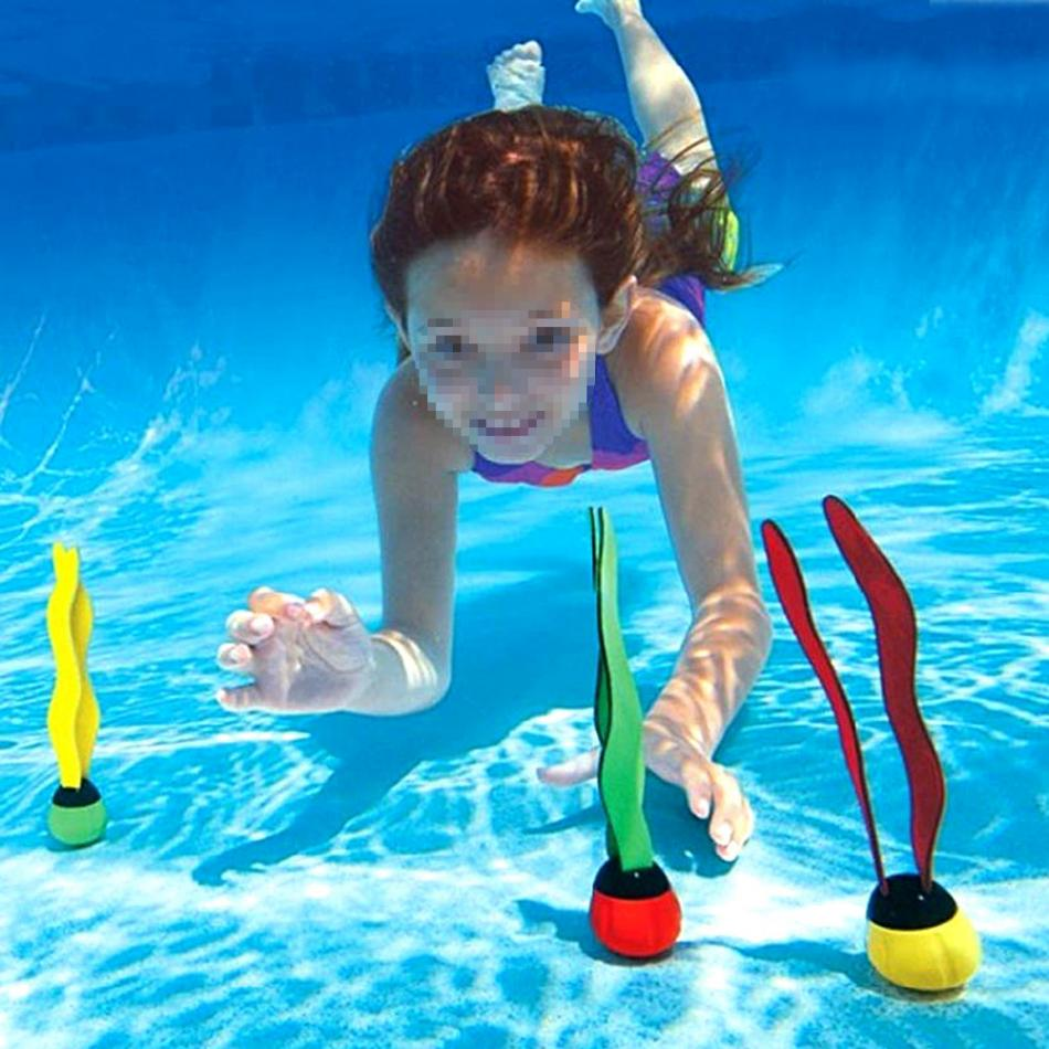 3 Pcs Kids Sea Plant Diving Ring Children Water Play Games Toys Funny Underwater Sports Diving Buoys Swimming Pool Accessories