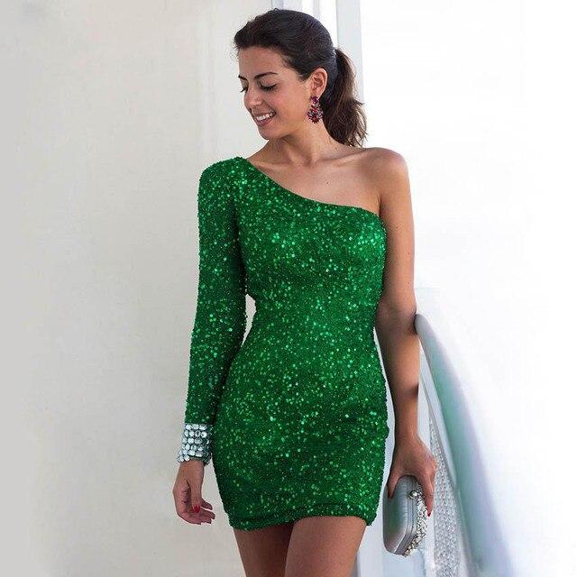 33e339383b956 Yeşil sequins gelinlik 2017 abiye elbise tek omuz tam kollu kısa mini dress  fermuar geri