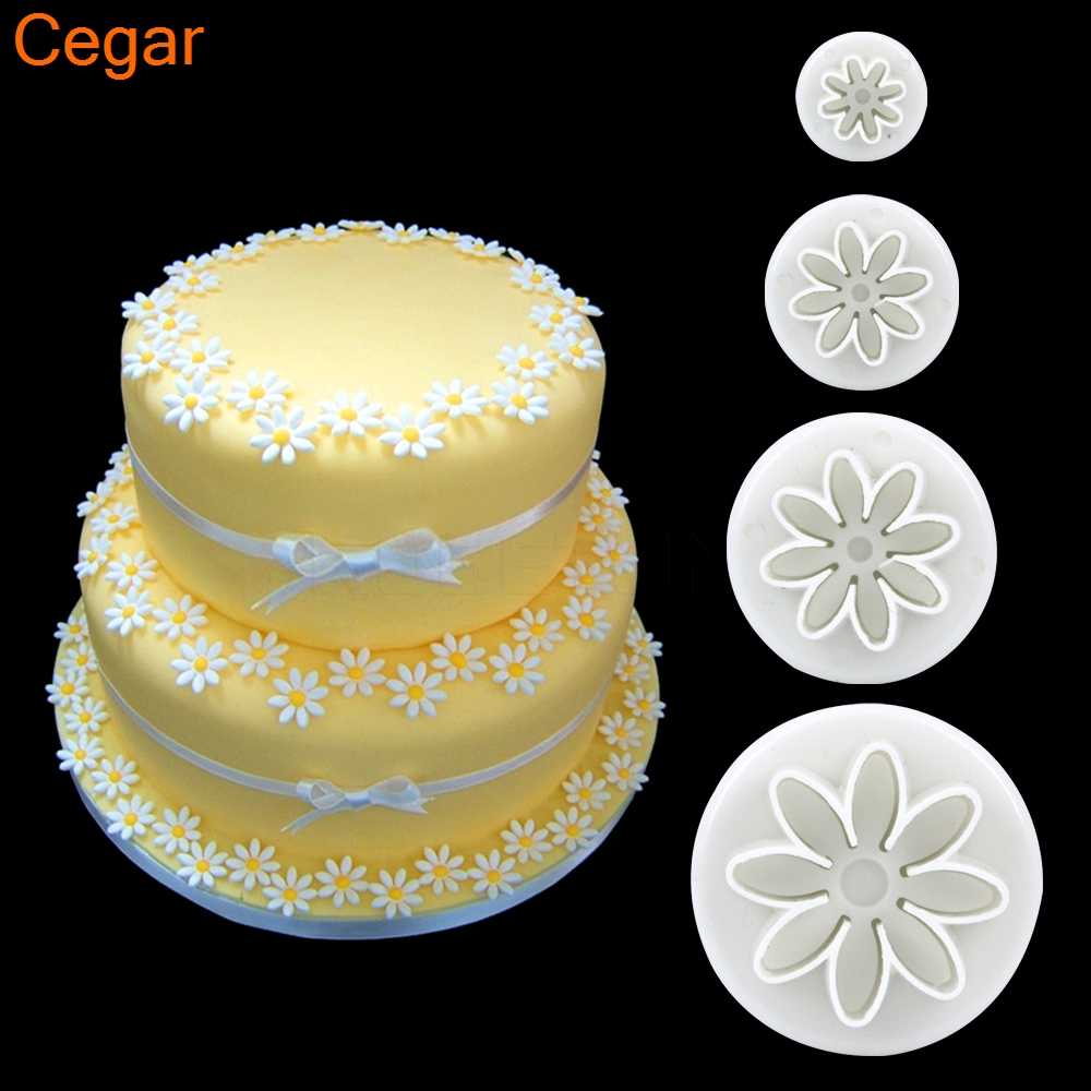 Christmas Birthday Cake.4pcs 1set Daisy Mold Flower Sunflower Plunger Cutter Sugarcraft Fondant Cake Cookie Mode Tool Christmas Birthday Cake Decorating