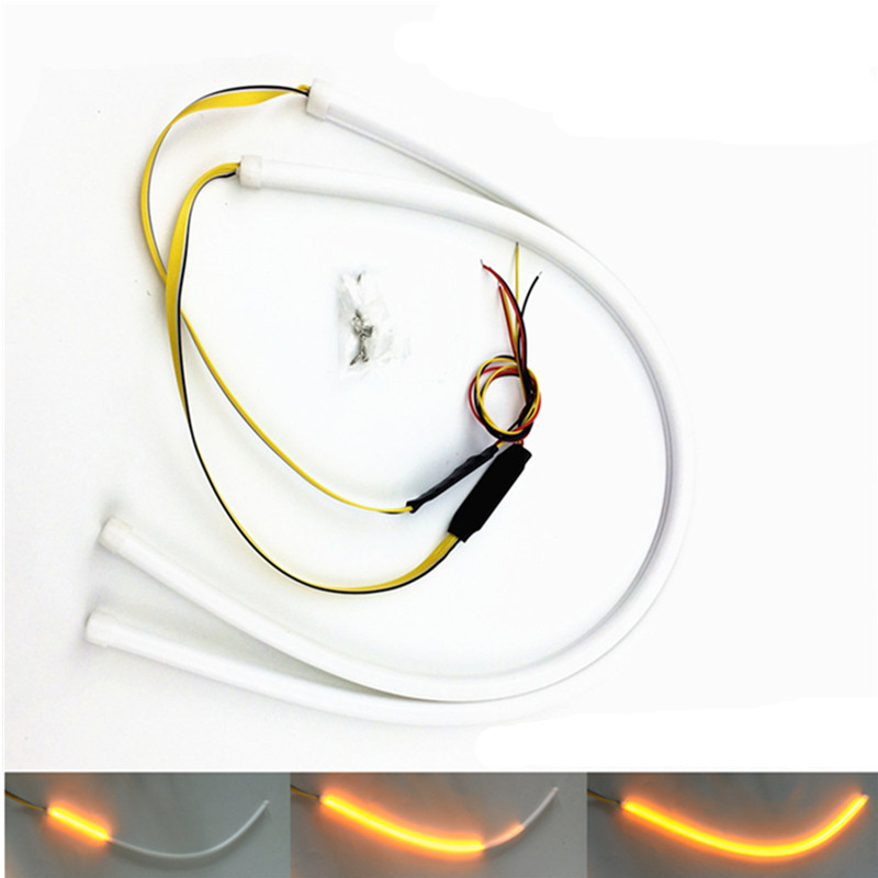 Car DRL Running Turn Signal White Amber LED Headlight Strip For Peugeot 206 308 407 207 3008 406 208 508 301 2008 408 306 106 2pcs for peugeot 106 3d 1007 207 307 308 3008 406 407 508 607 18smd car led license plate light lamp oem replace automotive led