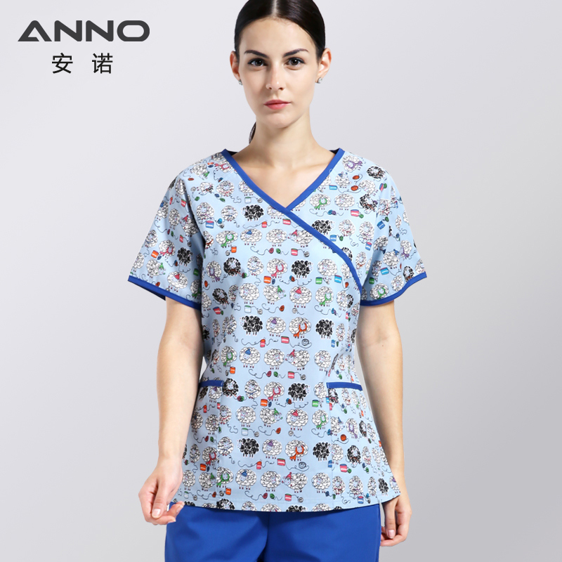 ANNO Krankenschwester Uniform Frauen mit Verstellbare Taille Pflege Peeling Kleidung Zahnmedizin Klinik Einheitliche medizinische liefert Slim Fit