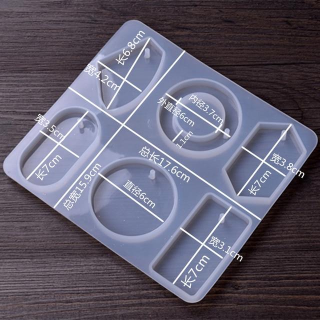 1 pcs Modelos Molde de Resina Molde de Silicone DIY moldes Ferramentas Equipamentos Jóias Pingente geometria Praça gota Redonda com furo