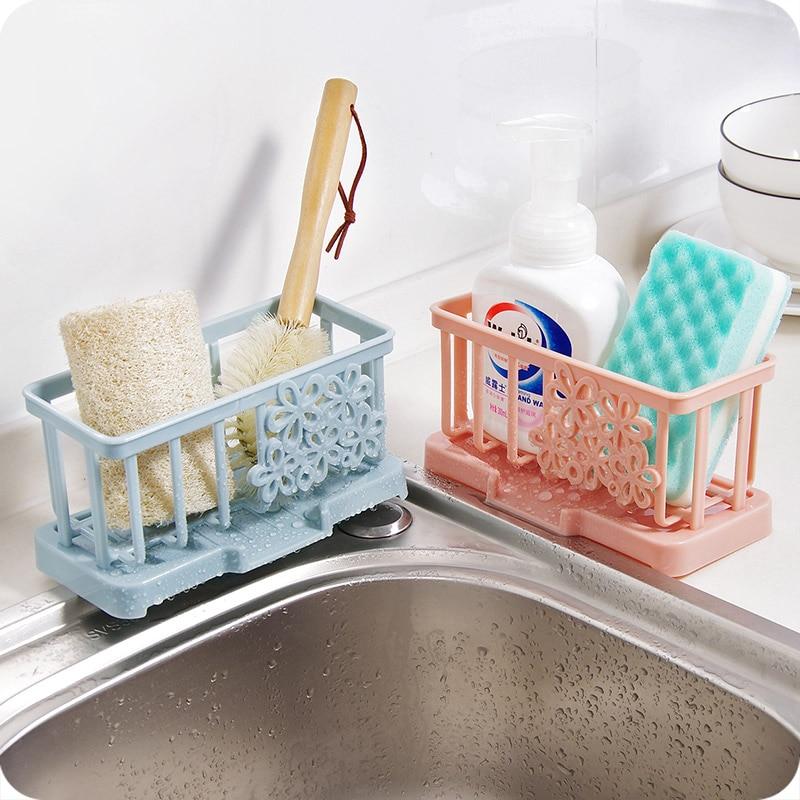 Sink Countertop Cleaning Cloth Rack Plastic Drain Rack Kitchen Supplies  Sponge Storage Shelf Rack(China