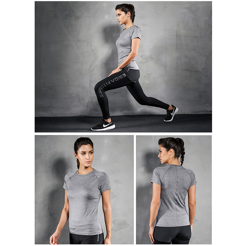 Women T-Shirt Yoga Fitness Sports Wear Top Short Sleeve Quick Dry Gym Clothing Breathable Fit Workout Training Tee Running Shirt