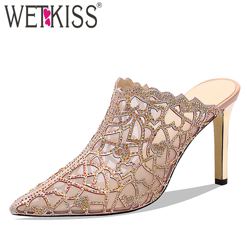 WETKISS Thin High Heels Party Slides Shoes Female Mesh Crystal Slippers Women Summer Mules Shoes Pointed Toe Shoes Ladies BlueWETKISS Thin High Heels Party Slides Shoes Female Mesh Crystal Slippers Women Summer Mules Shoes Pointed Toe Shoes Ladies Blue