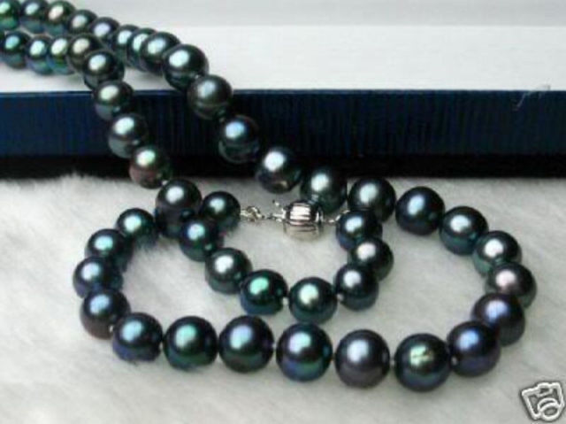 stunning AAA 9-10 mm round black pearl necklace 18 inch 14k/20stunning AAA 9-10 mm round black pearl necklace 18 inch 14k/20