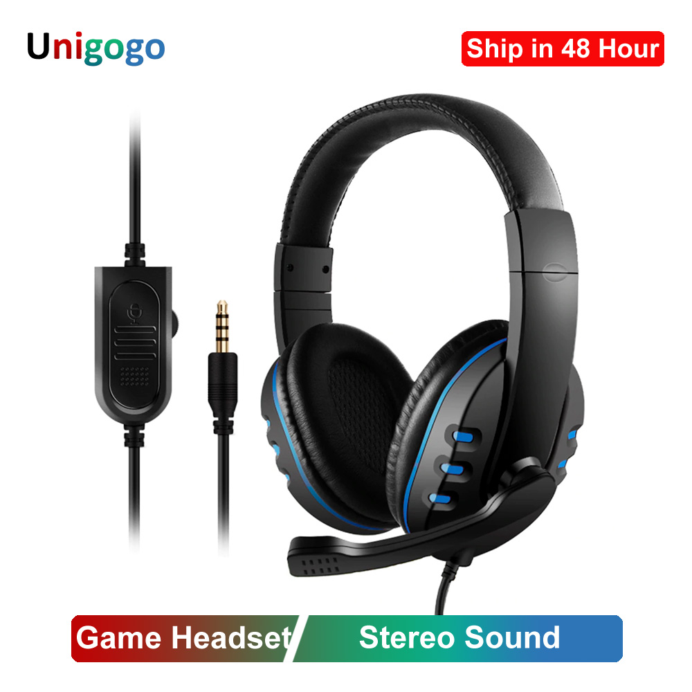3.5mm Wired Headphones Gaming/Gamer Headset Game Earphones With Microphone Volume Control For PS4 Play Station 4 X Box One PC