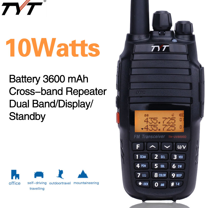 Upgrade Version TYT TH UV8000D walkie talkie 10Watts Cross band Repeater Dual band 3600mAh battery amateur