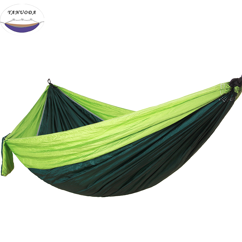 Hammock Portable Parachute Nylon Fabric Travel Ultralight Camping Double Wide Outdoor Travel Suspension(Darkgreen +Green)