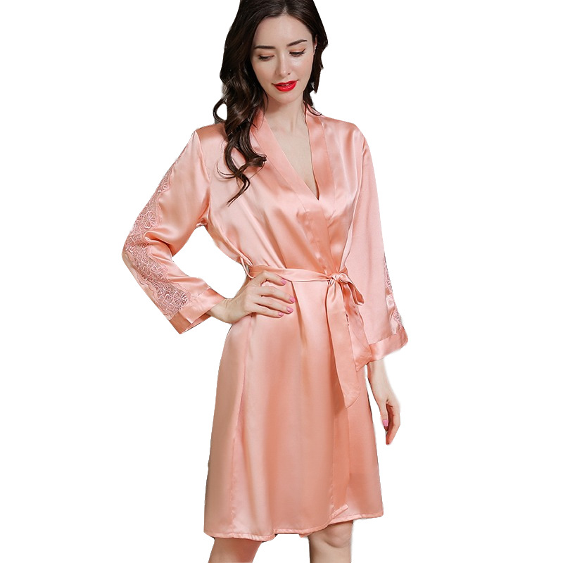 P9950 New Spring Summer Clothing Sexy Gowns 100% Silk Two-piece Lace Household Clothes Women Pajamas image