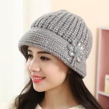 82b96e2edae Fashion Caps For Womens Flower Knit Crochet Beanie Hat Lady Casual Winter  Warm Cap Beret Accessories