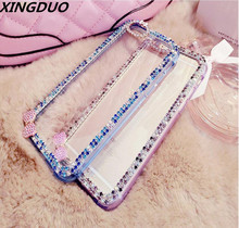 XIGDNUO bow Bling Diamond Rhinestone Soft TPU Phone Case For iphoneX 5 5s 6 6s 7 8 Plus XR Xs Max crystal Protective Back Cover
