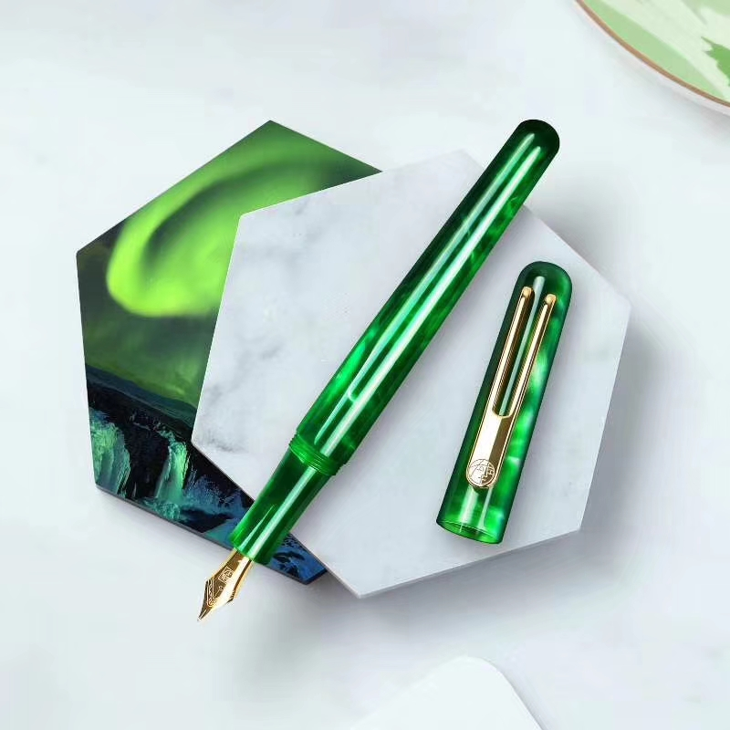 New Picasso Celluloid Fountain Pen Pimio EtSandy Aurora Green PS 975 Iridium F Ink Pen Writing Gift Pen for Business Office