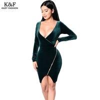 Womens Winter Sexy V Neck Evening Pleuche Dresses Plus Size Zipper Designer Long Sleeved Short Formal