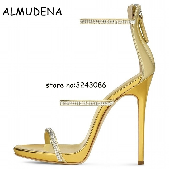 f4adec862acc Sexy gold high heels tringle open toe ankle strap heels sandals beautiful  women pumps stilettos sparkle rhinestone pumps shoes