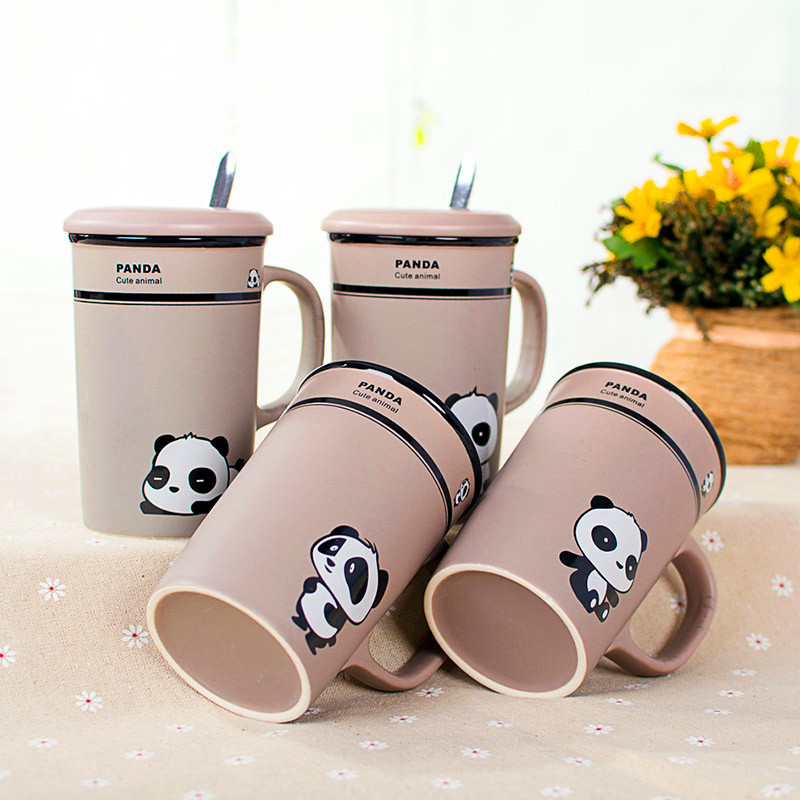 1Pcs New 358ml Creative Cartoon Panda Mark Ceramic Cup Coffee Cup Couples Water Mark Cup With Cover And Spoon Ceramic Milk Cup