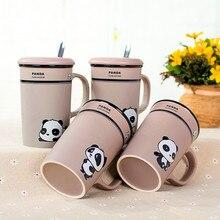 1 Stücke Neue 358 ml Kreative Cartoon panda mark keramikschalen-kaffeetasse Paare Wasser Marke Tasse Mit deckel und löffel keramik milch tasse