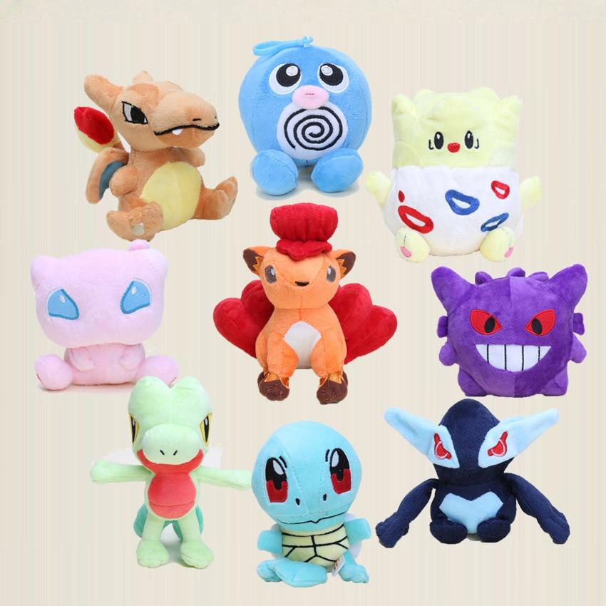 9pcs/lot Pocket doll toys Treecko Vulpix Poliwag Mew Squirtle Gengar Togepi Shadow Lugia Charizard plush Toys Stuffed Dolls