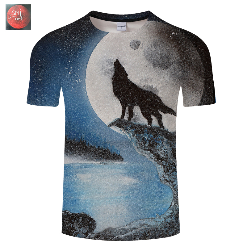 Wolf and the full moon by SMJ Artis 3D Print t shirt Men Pritned tshirt Summer Wolf Short Sleeve O-neck Tops&Tees Drop Ship New