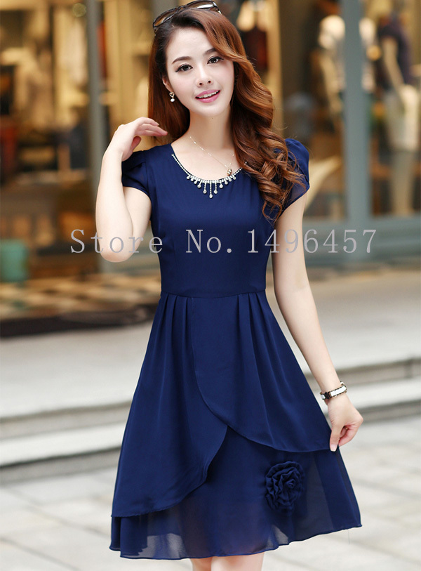 Summer Dress For Middle Age Women One Piece Dress Summer Chiffon ...