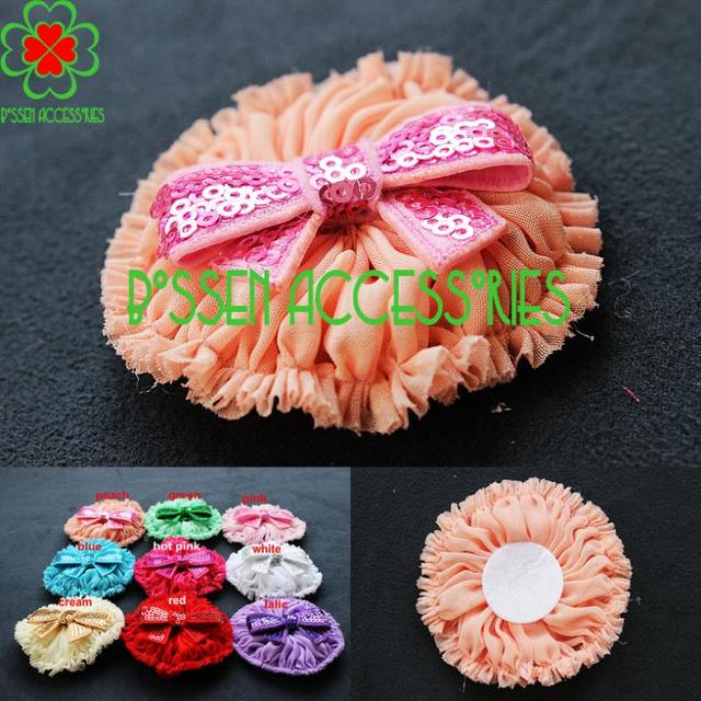 "Free shipping! 2.7"" chiffon shabby flower with sequin bow hair clip baby headband flowers fabric flower"