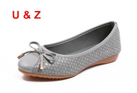 U&Z Crocodile Grain leather Lovely Round toe flat shoes with lovely bow,Fashion NEW Red/Black/Grey leather ballet shoes loafers