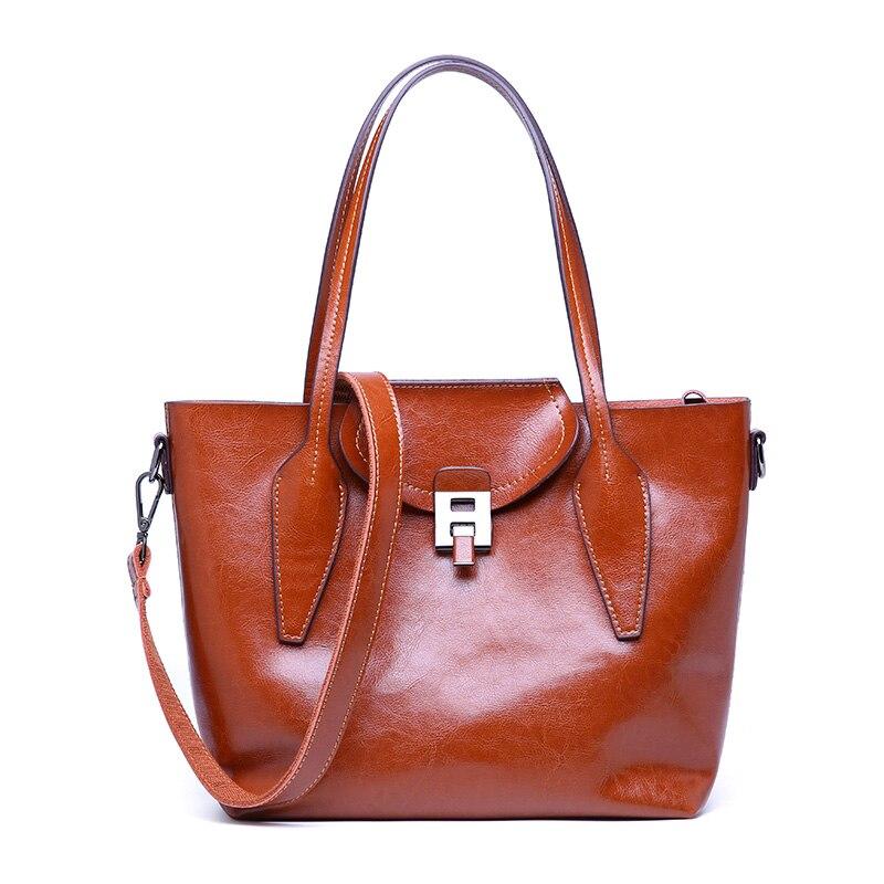 Autumn Winter Retro Portable Cow Leather Handbag Tide Ladies Shoulder Messenger Bag