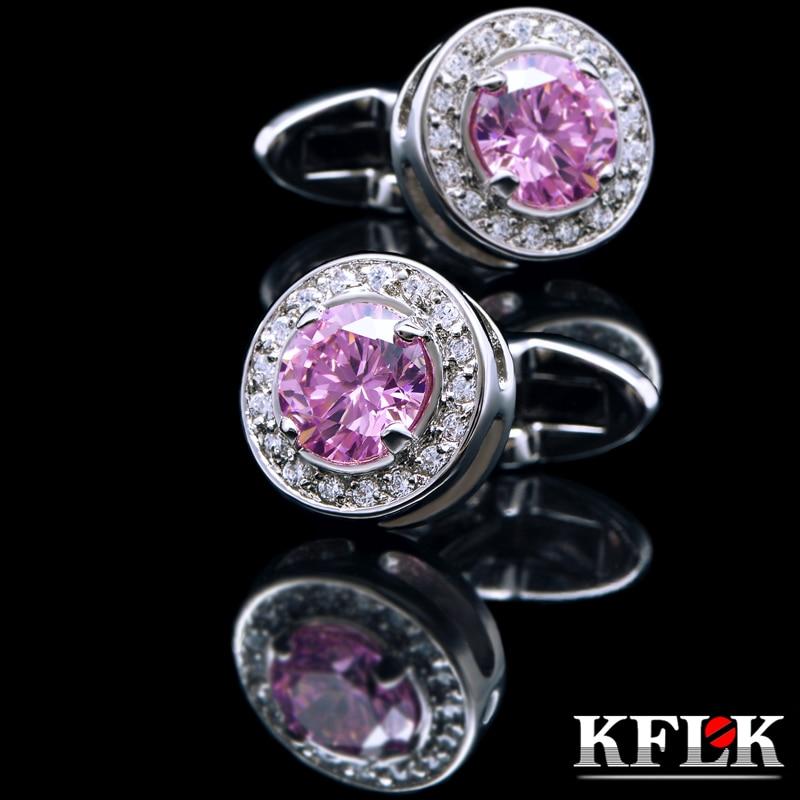 KFLK 보석 셔츠 패션 커프스 브랜드 핑크 크리스탈 럭셔리 커프스 링크 도매 버튼 높은 품질 무료 배송