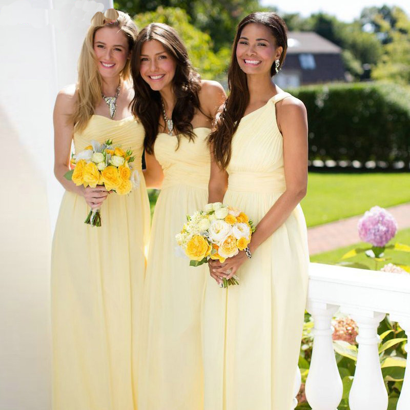 efa158d6b4944 2 Style 2016 On sale Casual Sweetheart Wedding Guest Dress Pleated Yellow  Long Weddibng Party Gown Cheap Bridesmaid Dress
