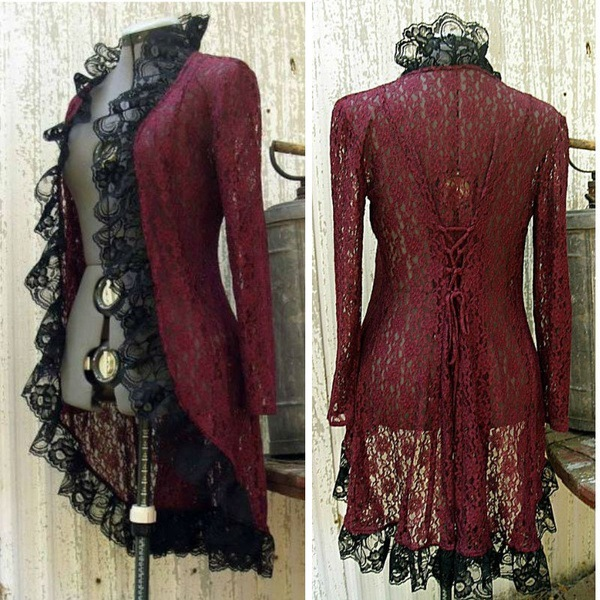 <font><b>Women</b></font> Pirate Jacket Medieval <font><b>Gothic</b></font> Overcoat <font><b>Sexy</b></font> lace Long Sleeve <font><b>Halloween</b></font> Costume Vintage <font><b>Gothic</b></font> Tuxedo long Coat image