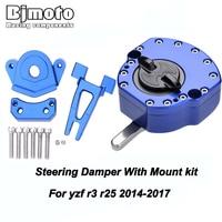 Motorcycle CNC Steering Damper Stabilizer with Mount Bracket Kit for Yamaha YZF R3 R25 2014 2015 2016 2017 2018 Adjustable Motor