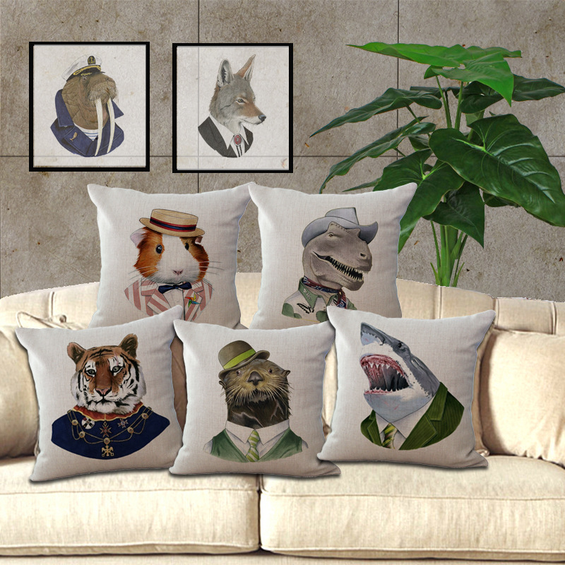 Wholesale 1 piece creative dressed animal seat cushion pillowcase decorative home decor sofa chair throw pillows case 4545cm in cushion from home garden