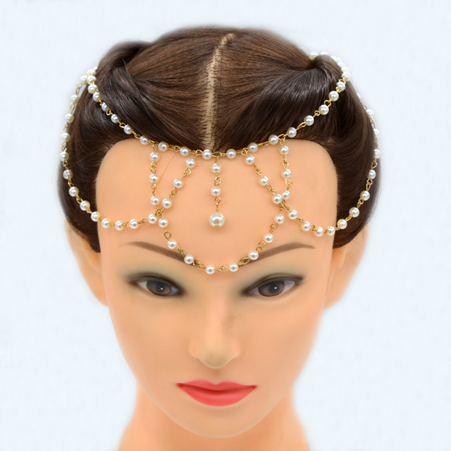 Luxury Women Gold Diy Headband Pearl Tassel Goddess Head Chain Hair band  Headchain HeadpieceTiara Wedding Brides Jewelry HD052 0297960fc5f