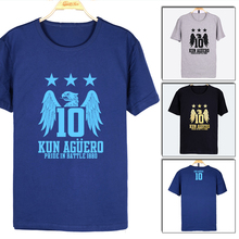 Men's Short sleeve t-shirt Sergio Aguero KUN Champion Manchester Premier League Blue Moon jersey Pride in B attle Argentina(China)