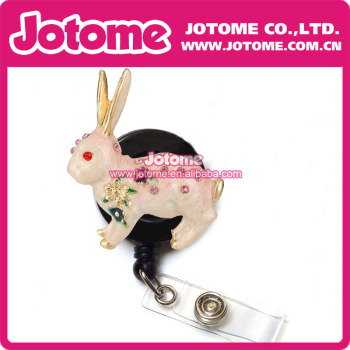 Costume Jewelry Crystal Rhinestone Big Crystal Rhinestone Cute Enamel Rabbit for Easter Retractable Badge Reel/ ID Badge Holder