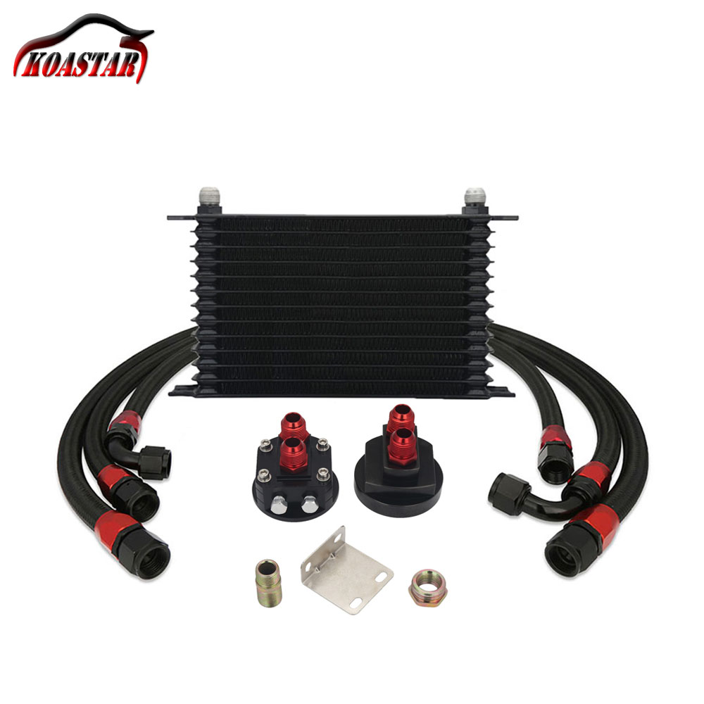 13 Row Trust Type Oil Cooler Relocation Kit Engine Stainless Steel Nylon Braided 10AN Hose Oil