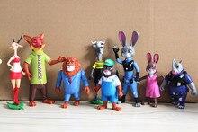 Free Shipping 8pcs/set Zootopia 10-15cm Rabbit Judy Hopps Fox Nick Wilde Cartoon Movie Action Figures Toys Gifts For Kids