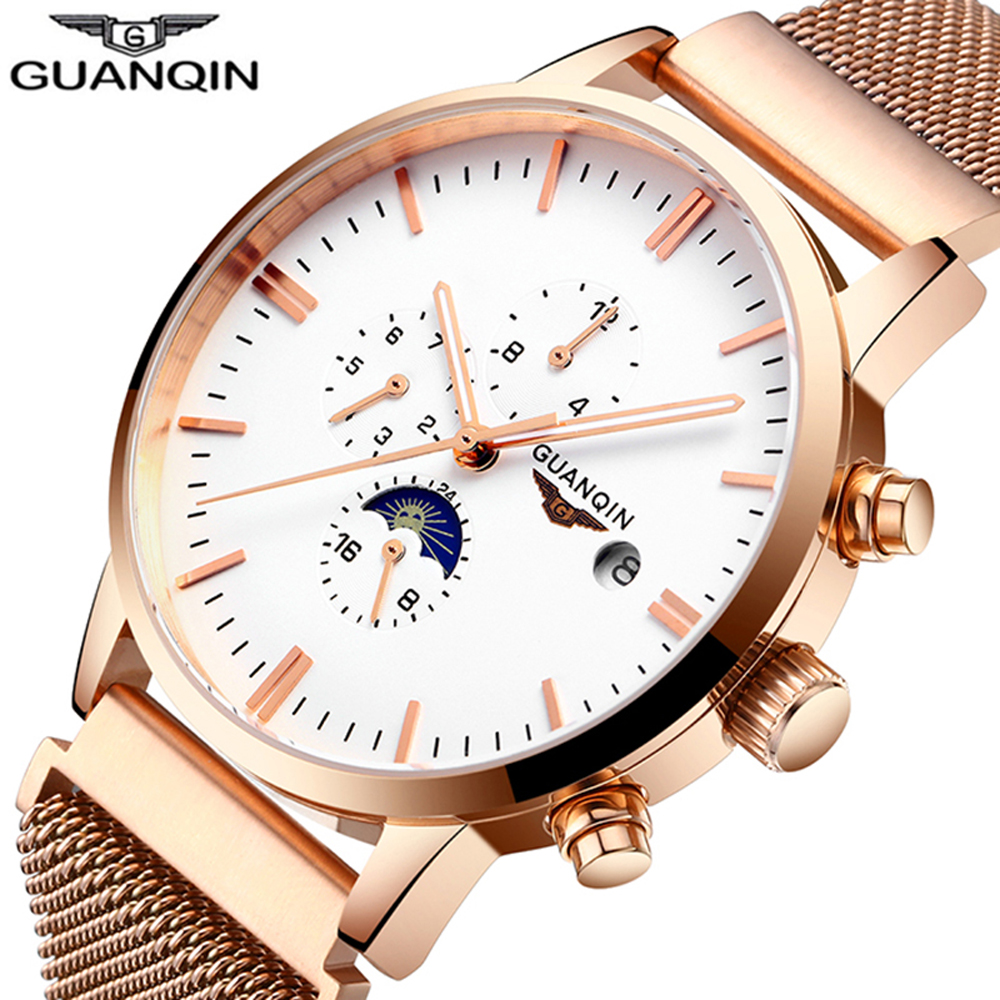 Sapphire GUANQIN Automatic new Luxury Brand Watch Men Clock Male Full Steel Waterproof Mechanical Wristwatch Relogio Masculino read luxury golden automatic mechanical watches men fashion watch for men wristwatch waterproof full steel relogio masculino new