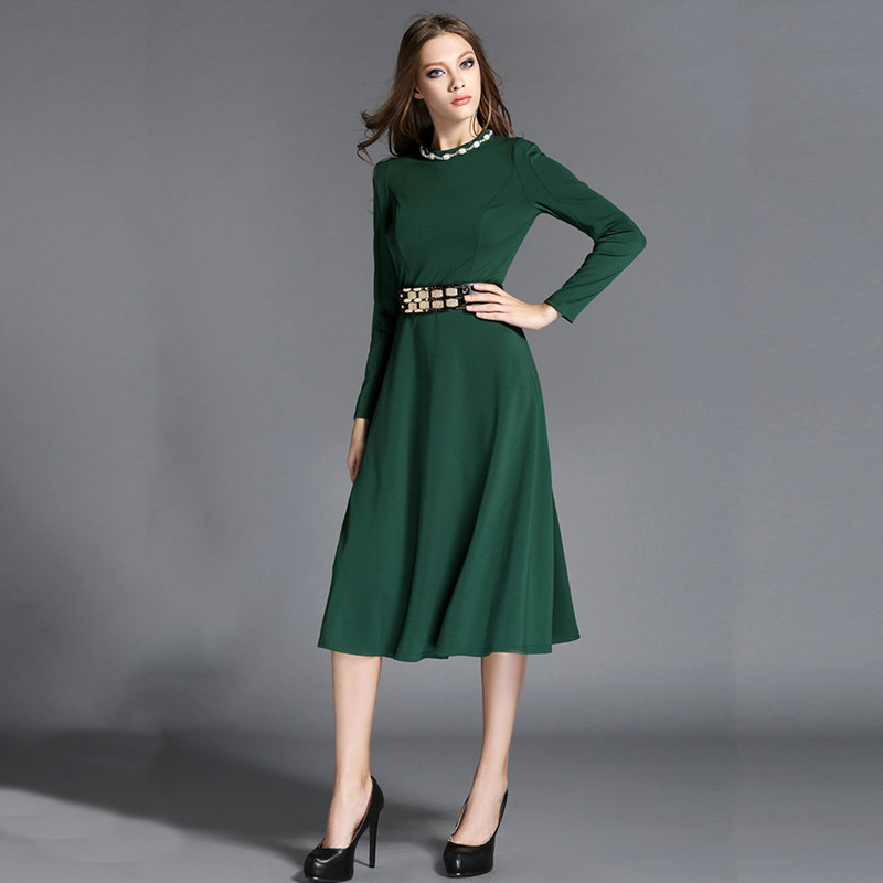 Women Elegant Office Dresses Formal Party Dress With Waistband Long Sleeve  O neck Fashion Midi Dress In Green Black 2 Color-in Dresses from Women s  Clothing ... 4236049509d6