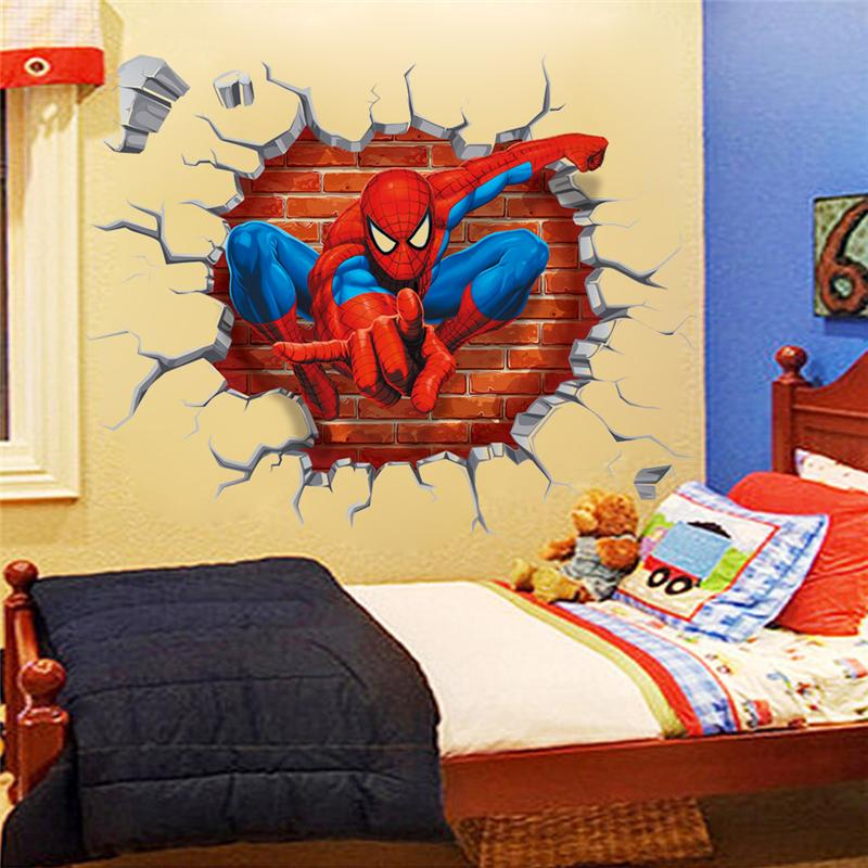 3d Spider Man Wall Stickers For Kids Room Decoration Movie Roles Home Decal Cartoon Mural Art Peel & Stick Posters Children Gift